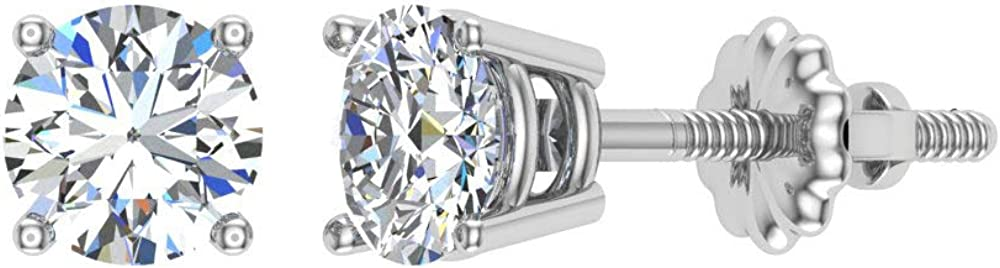 Gift box Authenticity Cards G, VS2 Diamond Earrings for Women Men Round Cut 14K Gold studs 1//4-1.00 ct t.w