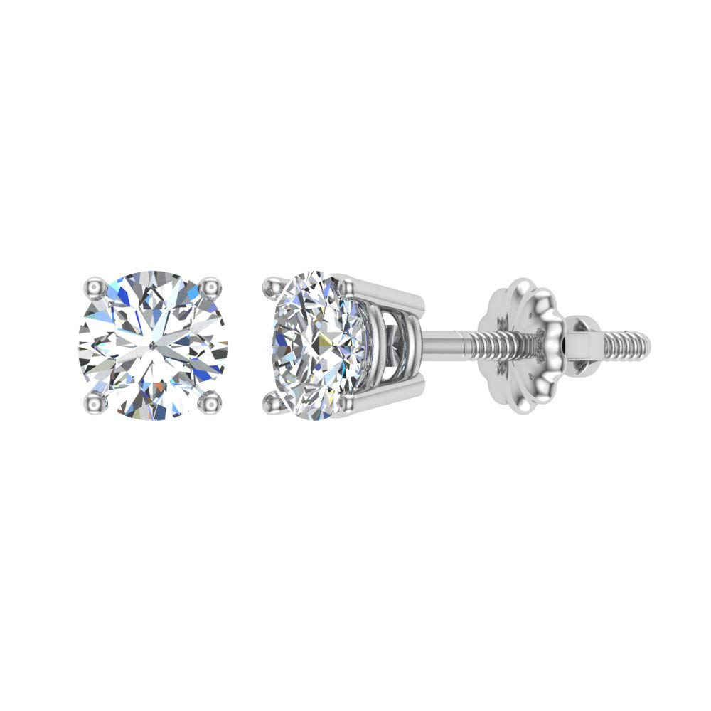 1/10 ct tw Small Four Prong Diamond Stud Earrings 14K White Gold