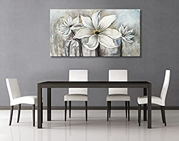 Seekland Art Hand Painted Canvas Wall White Flowers Lotus Oil Painting Modern Contemporary Artwork Abstract