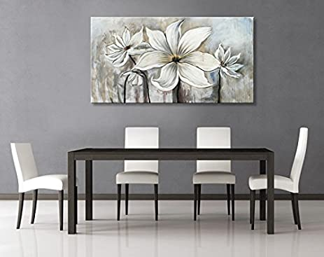 Seekland Art Hand Painted Canvas Wall Art White Flowers Lotus Oil Painting Modern  Contemporary Artwork Abstract