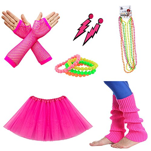 Tutu Skirt, Fishnet Gloves, Leg Warmers, Jewelry Set in 7 colors