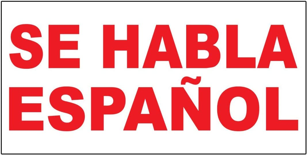 Se Habla Espanol Red Decal Sticker Retail Store Sign 9.5 X 24 Inches
