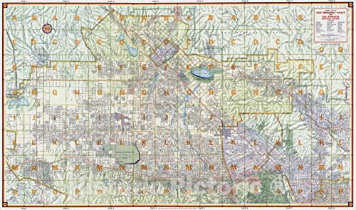 Historic Map - Street Map of San Fernando Valley and Los Angeles Northern Section, 1956 National Atlas - Vintage Wall Art - 24in x 14in