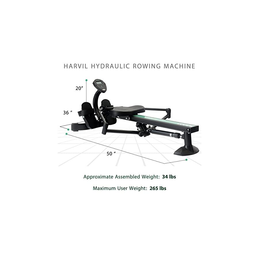 Harvil Hydraulic Rowing Machine Adjustable Resistance with Folding Arms, LCD Monitor & Safety Straps