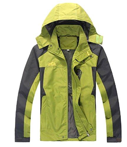 FreelyMen Oversized Mesh Lining Casual Loose Waterproof Ski Jacket Green 4XL