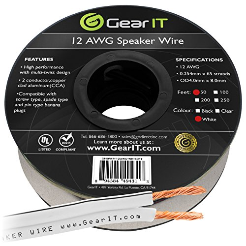 (12AWG Speaker Wire, GearIT Pro Series 12 AWG Gauge Speaker Wire Cable (50 Feet / 15.24 Meters) Great Use for Home Theater Speakers and Car Speakers)