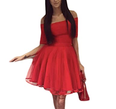 6d659aee480 SABridal Sexy Short Sleeve Knee Length Party Dress Tulle Off The Shoulder  Homecoming Dresses DQSAB901 Red