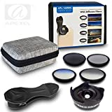 BPSMedia® 6 in 1 Professionel HD High Quality Mobile Phone Camera Lens Kit - 0.6X Wide Angle &10X Macro lens with 4 Pcs Filters CPL Filter, GND Blue, Gray, ND8 Filter - Universal Clip On Cell Phone Lens for iPhone, Samsung & Most Smartphone