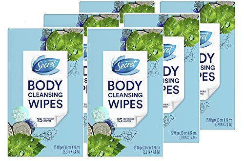 - Secret Cleansing Wipes for Women, Calm Birch Water Scent, 15 Count (Pack of 6)