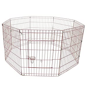 ALEKO SDK-24P Heavy Duty Pet Playpen Dog Kennel Exercise Cage Fence 8 Panel 24 x 24 Inches Pink Click on image for further info.