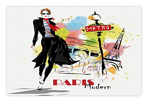 Girls Pet Mats for Food and Water by Lunarable, Aesthetic Fashion Woman in Clothing Walking in Paris Streets Urban City Life Theme, Rectangle Non-Slip Rubber Mat for Dogs and Cats, - Aesthetic Paris