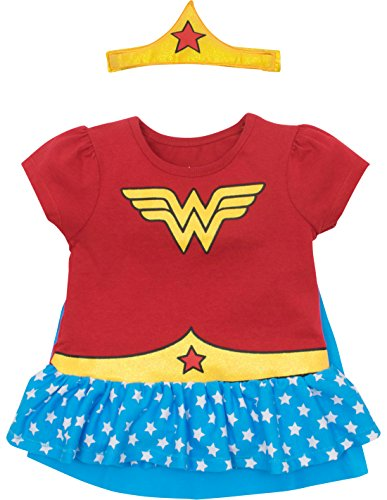 Warner Bros. Wonder Woman Toddler Girls' Costume Ruffle Shirt with Cape and Headband  -