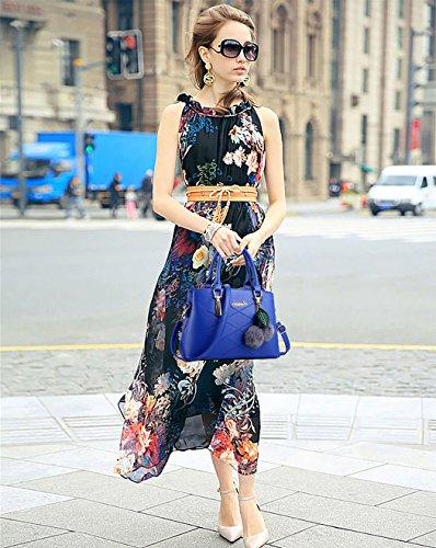 mujer bandolera para Bolsos hombro y Bolsos DEERWORD totes Shoppers de Cuero bolsos Azul Bolsos de PU w5IURqE