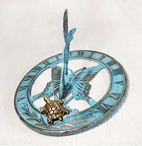 Brass Butterfly Sundial 8'' Inches Wide - With a Little Turtle by Taiwan