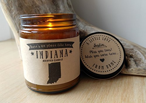 Indiana Scented Candle Missing Home Homesick Gift Moving Gift New Home Gift No Place Like Home State Candle Miss You Gift Valentines Day Gift