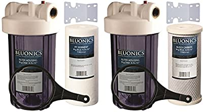 "Two 10"" BLUONICS Big Blue Whole House Water Filters w/ Sediment & Carbon for Rust, Iron, Sand, Dirt, Sediment, Chlorine, Pesticides, Insecticides and Bad Odors with CLEAR BLUE TRANSPARENT HOUSINGS"