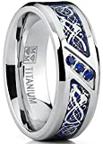 Titanium Wedding Ring Band with Dragon Design Over Blue Carbon Fiber Inlay and Blue Cubic Zirconia SZ 11