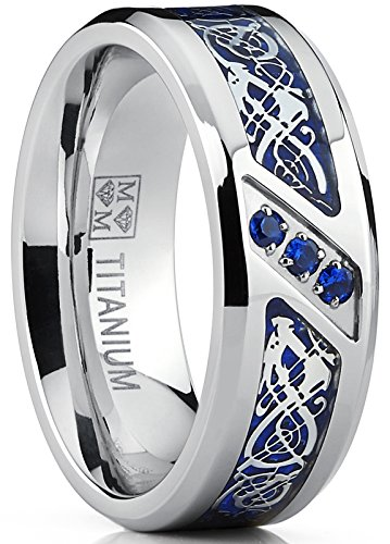 Metal Masters Co. Men's Titanium Wedding Ring Band with Dragon Design Over Blue Carbon Fiber Inlay and Blue Cubic Zirconia SZ 8