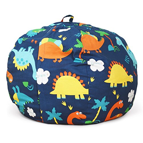 BROLEX 27'' Stuffed Animals Bean Bag Chair Cover-100% Cotton Canvas Kids Toy Storage Zipper Bags Comfy Pouf for Unisex Boys Girls Toddlar, Dinosaur Print by BROLEX (Image #3)