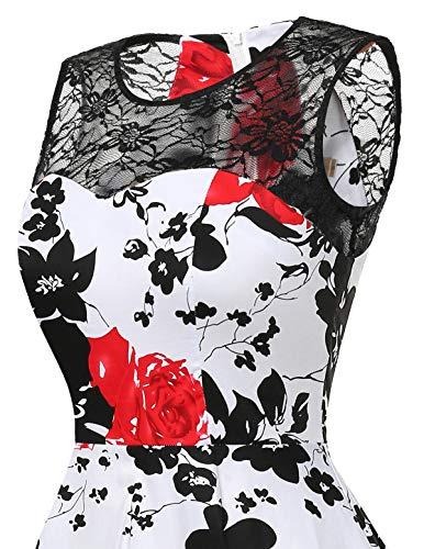 De Dentelle Cocktail Soirée Cérémonie Asymétrique Flower Jupe Rockabilly Red Low Femme Homrain High Avec Robe 7qwTtxZa