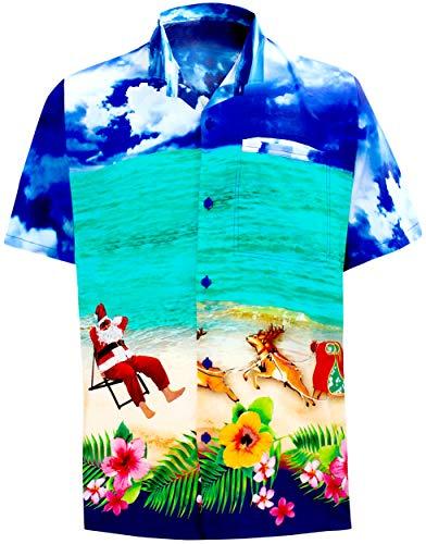 LA Leela Mens Casual Button Down Short Sleeve Christmas Hawaiian Shirts 3D