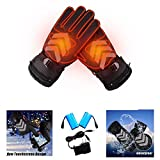 Touch Screen Motorcycle Heating Gloves, Rechargeable Electric Battery Heated Gloves, Molie Battery Powered Gloves, Waterproof Insulated Night Reflective Hand Warming Gloves for Outdoor Sports