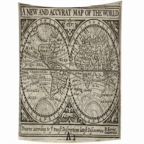 Ahawoso Tapestry 60x90 Inch Hemisphere Old Antique Map World by John Europe Speed Vintage 18Th Century Latitude America United Atlas Wall Hanging Home Decor for Living Room Bedroom Dorm (18th Century Tapestries)