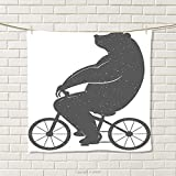 smallbeefly Vintage Hand Towel Bear on a Bike Cute Humor Parody Stylized Modern Funny Cycling Hipster Artwork Print Quick-Dry Towels Grey Size: W 20'' x L 24''