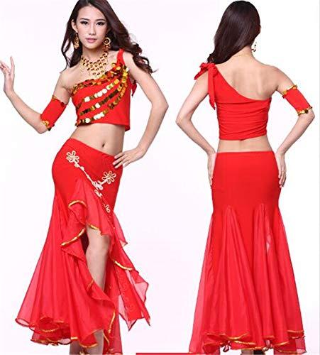 peiwen Les Danses/Shining Stade Ventre Danse/Performance Costume/Inde Danse Ensemble/des Hauts et des Jupes red