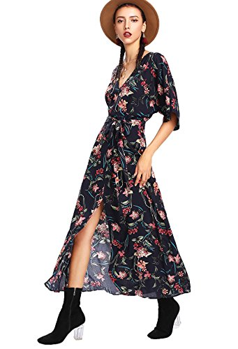 Milumia Women's Boho Deep V Neck Floral Chiffon Wrap Split Long Maxi Dress Multicolor-3 Medium (Floral Chiffon)