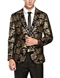Coofandy Mens Fashion Glitter Floral Print Slim Fit Two Button Blazer Jacket,Medium,Golden