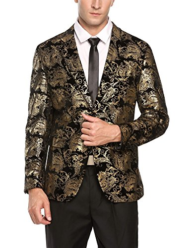 [해외]COOFANDY Mens 패션 반짝이 꽃 프린트 슬림 피트 2 버튼 블레이저 자켓/COOFANDY Mens Fashion Glitter Floral Print Slim Fit Two Button Blazer Jacket