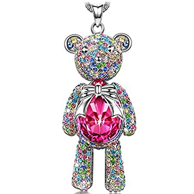 "J.NINA Necklace, ?Graduation Gifts for Daughter? with Exquisite Package -Bear Princess- Rose Crystals from Swarovski, Cute Bear Limb-Rotating Design Women Pendant Jewelry, 18''+ 2"" Extender"