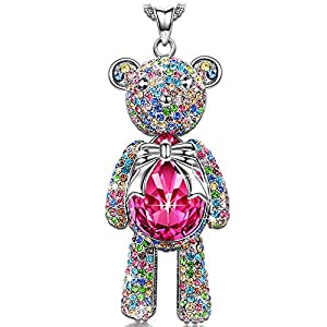 """Ratings and reviews for J.NINA Necklace, ♥Graduation Gifts for Teen Girls♥ with Exquisite Package -Bear Princess- Rose Crystals from Swarovski, Cute Bear Limb-Rotating Design Women Pendant Jewelry, 18''+ 2"""" Extender"""
