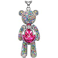 J.NINA Cute Bear Womens Pendant Jewelry with Rose Swarovski Crystals