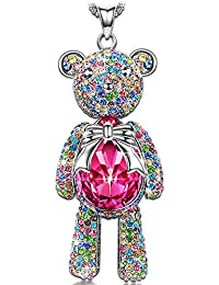 "Necklace, ♥Mom Gifts from Daughter♥ with Exquisite Package Bear Princess Made with Rose Swarovski Crystals, Cute Bear Limb-Rotating Design Women Pendant Jewelry, 18''+ 2"" Extender"