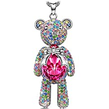J.NINA Necklace with Crystals from Swarovski ♥Exquisite Packages♥ -Bear Princess- Teddy with Limb-Rotating Design Women Pendant Jewelry Gifts for Teen Girls