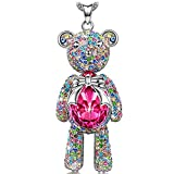 "J.NINA Necklace, ♥Mom Gifts from Daughter♥ with Exquisite Package Bear Princess Made with Rose Swarovski Crystals, Cute Bear Limb-Rotating Design Women Pendant Jewelry, 18''+ 2"" Extender"