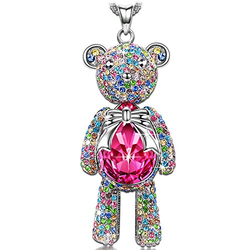 J.NINA Teddy Bear Women Necklace Animal Pendant Rose Gold Swarovski Crystals Fashion Costume Jewelry Anniversary Birthday Gifts for Her Ladies Girls Teens Girlfriend Sister Mom Mother