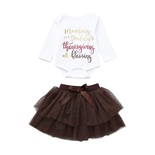 68249cade Hatoys Christmas Baby Girl Letter Romper Tops+Tutu Skirts Thanksgiving  Outfit Set(0-