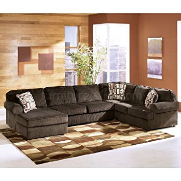 3 piece sectional sofa with chaise cover vista left bobkona miranda reversible ottoman set chocolate modern microfiber faux leather s