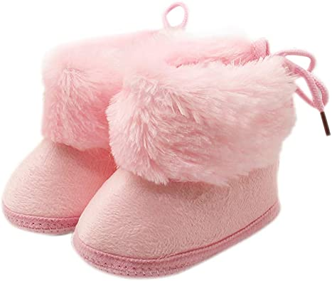 Fnnetiana Winter Warm Prewalker Infant Shoes Newborn Baby Soft Soled Non-Slip Crib Boots Toddler