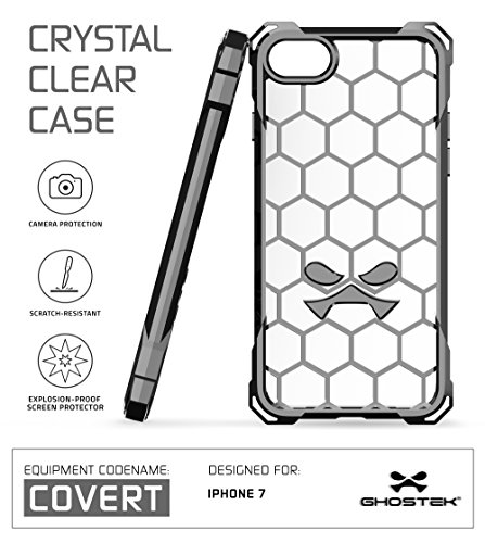 iPhone 7 Case, Ghostek Covert Series for Apple iPhone 8 Premium Hybrid Impact Protective Armor Case Cover | Clear TPU | Explosion-Proof Screen Protector | Ultra Fit | Bumper Spring Corners (Gray) (Best Tech Suits For Sprinting)