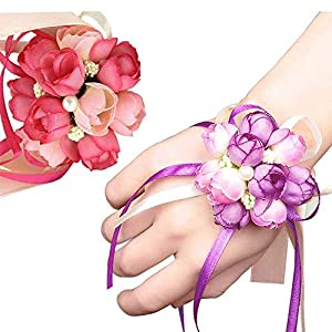 Prom Corsage Wedding Wrist Corsage 4pcs Girl Bridesmaid Party Prom Hand Flowers For Party Engagement Decor Birthday Party Purple And PinkChilds Hands Cheap Children Cossage Cursage Weist Maid 4 Cossa 107