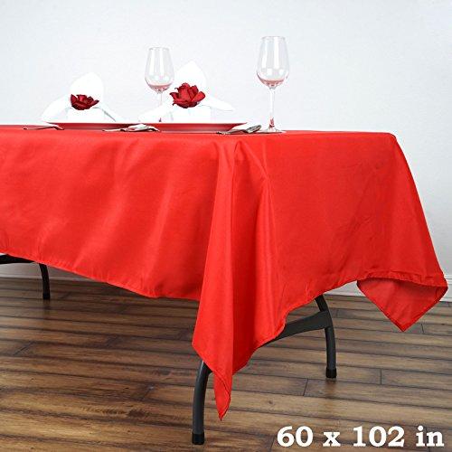 "BalsaCircle 60x102"" Polyester Tablecloth Wedding Linens - Red"