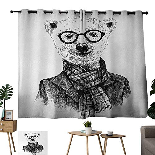 Teal Curtains Animal,Hand Drawn Monochrome Sketch Style Hipster Bear with Jacket Scarf Glasses,Black Grey and White 84