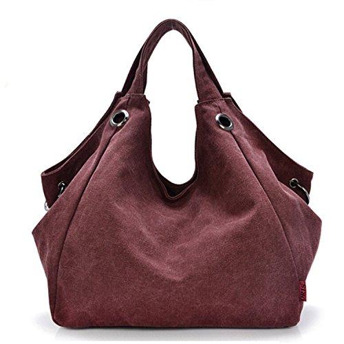 Tiny Chou Pure Color Women's Vintage Simple Style Canvas Tote Handbag Hobo Shoulder Bag Crossbody Bag (Inspired Canvas Designer Handbag)