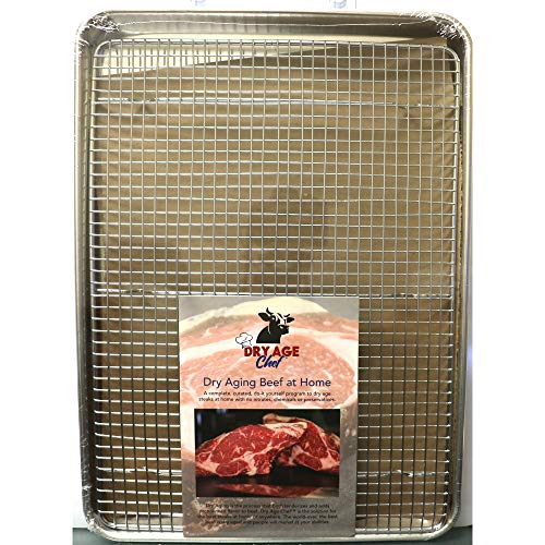 Large Beef Rack, Dry Aging Pan & Dry Aging Beef at Home Instructions & Guide Booklet by Dry Age Chef - Perfect for Dry Aging Steak at Home!
