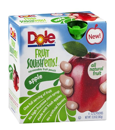 Dole Fruit Squish'ems! Squeezable Fruit Pouch Apple 12.8 OZ (Pack of 24) by Dole