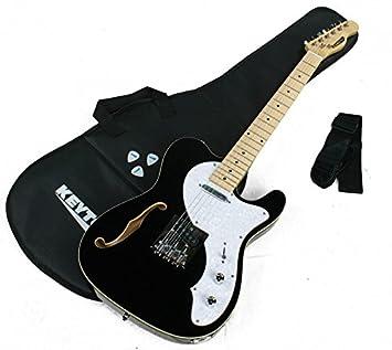 KEYTONE Guitarra Eléctrica TL Style Deluxe con F de agujero & Accesorios